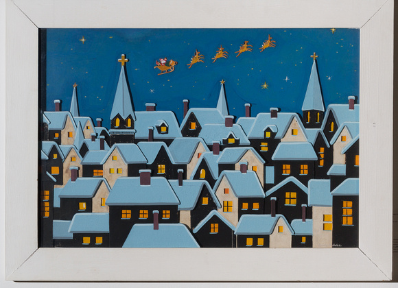 Santa Over Rooftops by Landy R. Hales